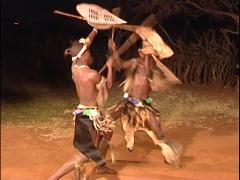 Zulu Camp, 2 Warriors Training to Fight Stock Footage