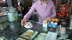 Madrid, Spain - Tapas Bar Espresso Coffee Service Stock Footage