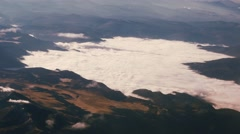 Clouds covering mountain valley Aerial, 4K Stock Footage