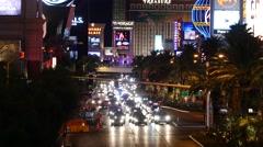 Static Las Vegas blvd. Night. Stock Footage