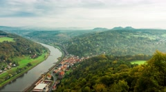 4k DUH.View on Elbe river, Lilienstein mountain and walls of the Konigstein fort Stock Footage