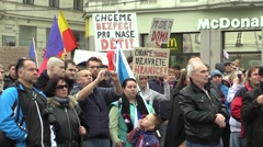 Demonstration against Islam and refugees in Brno Stock Footage