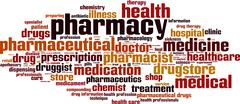 Pharmacy word cloud - stock illustration