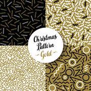 Merry christmas pattern set gold retro 80s holiday - stock illustration