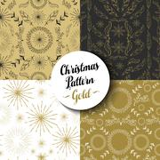 Stock Illustration of Merry christmas pattern set gold nature holiday