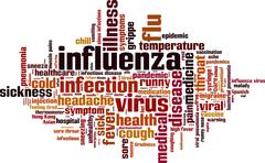 Influenza word cloud - stock illustration