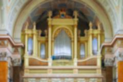 Interior of Cathedral , blur abstract background - stock photo