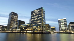 Time Lapse of London's Canary Wharf Financial District Office Towers Stock Footage