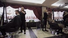 Hair salon working day. Slider camera movement Stock Footage