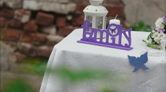 Decorated wedding table in the summer garden Stock Footage