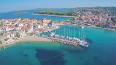 Primosten old city marina - stock footage