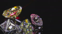Diamonds on black - stock footage