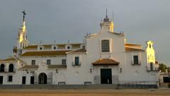 Panning left shot of the church of the hermitage of El Rocio, Andalusia, Spain. Stock Footage