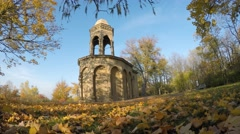 Ground view of sepulcher in forrest during beautiful autumn sunny day Stock Footage