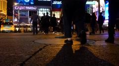 Static Las Vegas blvd crosswalk .Night Stock Footage