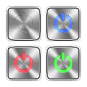 Color power off steel buttons Stock Illustration