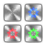 Color settings steel buttons - stock illustration
