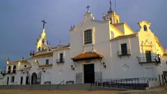 Panning up shot of the church of the hermitage of El Rocio, Andalusia, Spain. Stock Footage