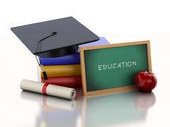 Stock Illustration of 3d Blackboard with diploma, graduation cap and stack of Books.