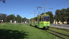 An electric tram in Tallinn, Estonia. Stock Footage