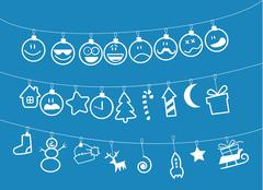 Drawn Christmas toys that hang on strings Stock Illustration