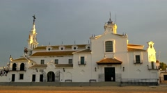 Zooming in shot of the church of the hermitage of El Rocio, Andalusia, Spain. Stock Footage