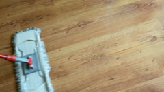 Floor cleaning using house mop Stock Footage