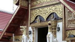 Buddhist temple, Wat Pra Sing in Chiang Rai ,Thailand Stock Footage