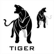 Tiger. panther. Standing tiger. Fearless panther. Stock Illustration
