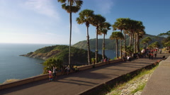 Time Lapse People along Coastal Viewpoint walkway - stock footage