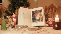 History of Christmas Children's Bible - stock footage