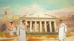 Animated Cartoon Scholars in the Parthenon in Ancient Greece in Athens - stock footage
