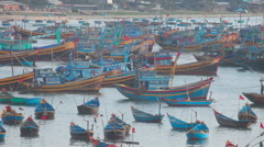 Fishing boats and barges Stock Footage