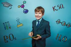 teacher boy chemistry teenage student businessman smiling holdin - stock photo