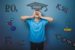 teacher chemistry teenage boy student shouts closed his eyes inf - stock photo