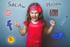 teen girl social media infographics sketch shouts her fists - stock photo