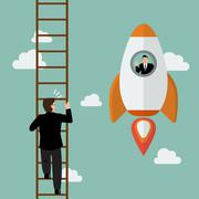 Stock Illustration of Businessman on a Rocket fly pass businessman climbing the ladder