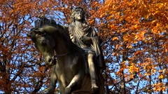 Monument to king Louis XIII in the Place des Vosges Square in Paris. France. 4K. Stock Footage