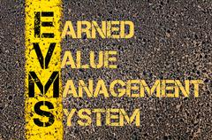 Stock Illustration of Business Acronym EVMS as Earned Value Management System