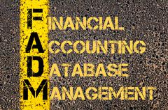 Business Acronym FADM as Financial Accounting Database Management Stock Illustration