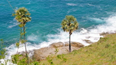 Waves on Tropical Shoreline Stock Footage