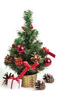 Beautiful christmas tree isolated on white background - stock photo
