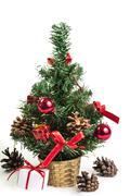 Beautiful christmas tree isolated on white background Stock Photos