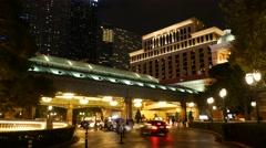 Static Las Vegas valet hotel Bellagio. Night. Stock Footage