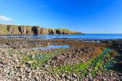 Stock Photo of Beautiful landscape of hill and rock at Dunnottar castle area, Aberdeen Scotl