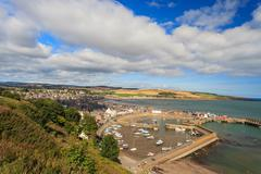 Aerial view of harbour at Stonehaven bay, Aberdeenshire, Scotland, UK Stock Photos
