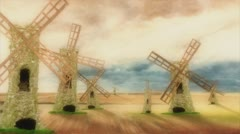 Don Quixote Riding on his Horse and Charge Windmills on a Beautiful Day - stock footage