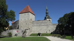 Stock Video Footage of Maiden's Tower (in 4k), part of the Old Town walls, Tallinn, Estonia.