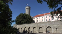 City walls and the Estonian Parliament building, Tallinn, Estonia. Stock Footage