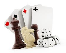 Stock Illustration of Playing cards set, dice and chess pieces